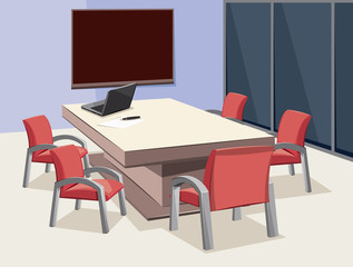 Interior of meeting room. Company staff training. Empty office with laptop and blackboard. Vector cartoon simple illustration.