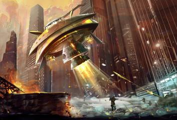 Illustration: The Terrible Alien UFO Destroyer comes. The Combat Begins. Realistic Style. Scene / Wallpaper Design.