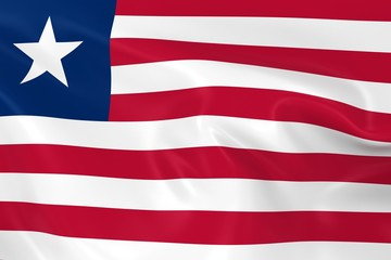 Waving Flag of Liberia - 3D Render of the Liberian Flag with Silky Texture