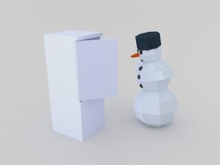 Snowman open fridge
