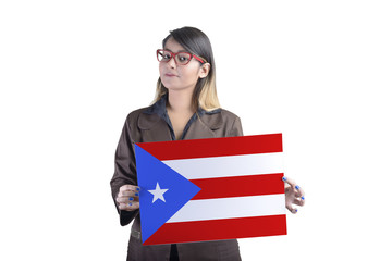 Business Woman Holding Puerto Rico Flag
