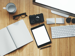 Photo of modern workspace with desktop screen, tablet, camera, keyboard, book.   3D rendering