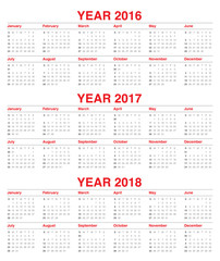 Calendar 2016 2017 2018
