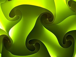 Abstract green background with interlaced plastic tiles