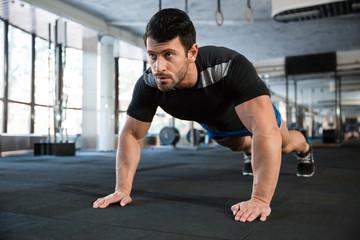 Sportsman doing push-ups
