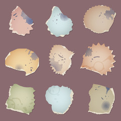 Set vector vintage dirty paper pieces with splats, fingerprints and cup circles