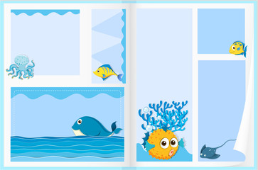 Paper design with sea animals
