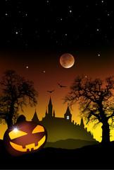 Wall Mural - Hallowennnacht mit Kürbis und Spukschloß