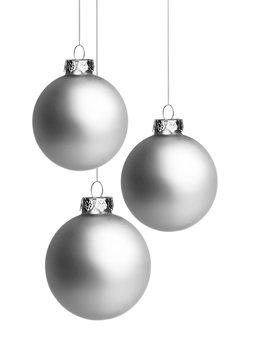 Drei Silberne Weihnachtskugeln