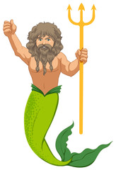 Male mermaid with the trident