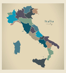 Modern Map - Italia with regions colored IT