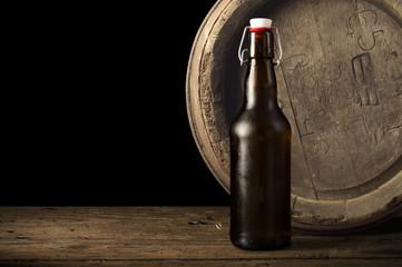 Still life: old wooden pin of beer