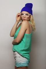 young hipster blonde woman with glasses