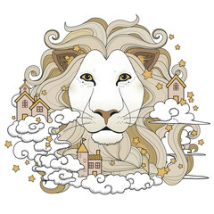 lovely lion coloring page