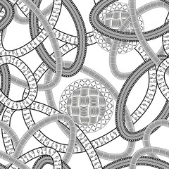 Black and white zentangle seamless pattern