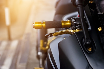 motorcycle handle on street background