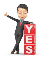Businessman and the word YES on the isolated background