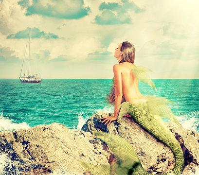 Mermaid sitting on rocks