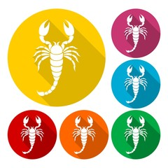 Scorpion icons set with long shadow