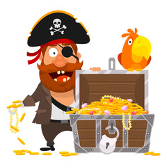 Pirate parrot and chest of gold