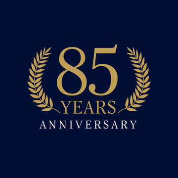 85 anniversary royal logo.  Template logo 85th anniversary with a frame in the form of laurel branches and the number 85