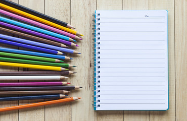 Blank paper and colorful pencils.