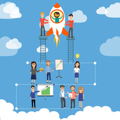 Start up business  company with team to launch the rocket vector
