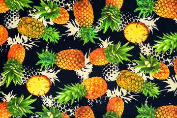 texture of print fabric on pineapple