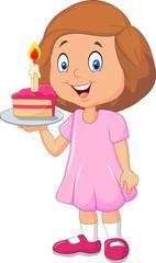 Little girl holding birthday cake isolated on white background