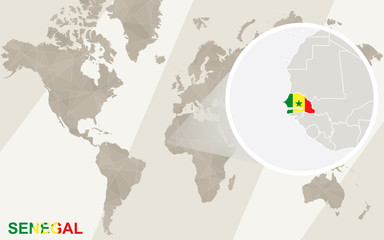 Zoom on Senegal Map and Flag. World Map.