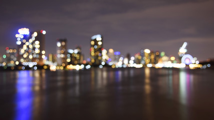 Blurred bokeh of Bangkok cityscape