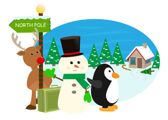 January First - Cartoon snowman, reindeer and penguin are hitchhiking to the north pole. Eps10