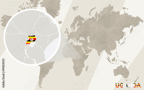 Zoom on Uganda Map and Flag. World Map.\