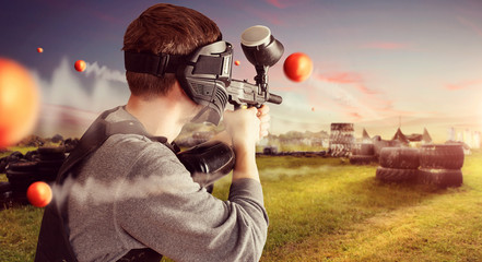 Paintball spieler in action
