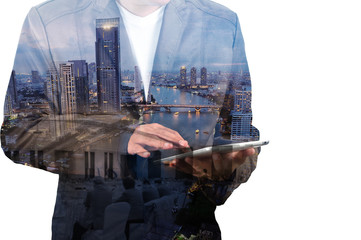Double Exposure of BusinessMan and City with Business Meeting