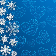 Christmas background with snowflakes on background of hearts
