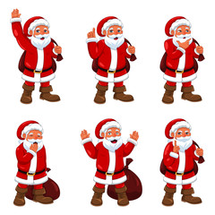 Santa Claus in Different Expressions