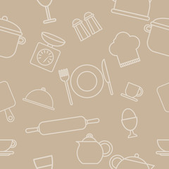 Food and drink outline seamless pattern.