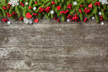 Christmas wood background , tree and decorations