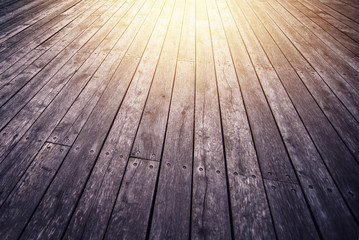 Rustic Wooden Floor Board in Perspective