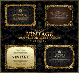 Vector vintage Gold frames decor label