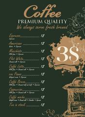 menu for coffee grinder