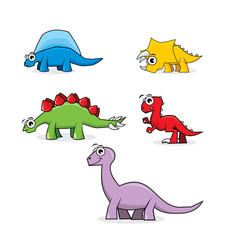 Five cute dinosaurs