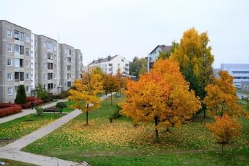 Autumn in Vilnius city Pasilaiciai district on October 22, 2015