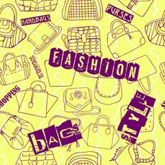 Seamless yellow pattern of fashion woman bags