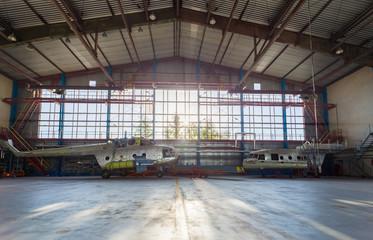 Wall Mural - Aviation equipment repairs in the hangar