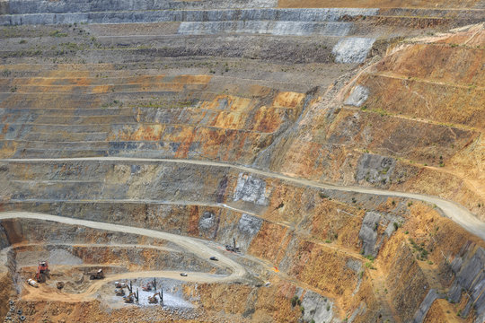 Bottom of open pit and machinery of a gold mine martha in Waihi,