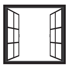 Windows-wide open window silhouette vector