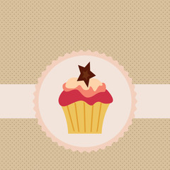 Vector label with cake