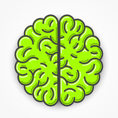 Cartoon green brain sign. Clean vector